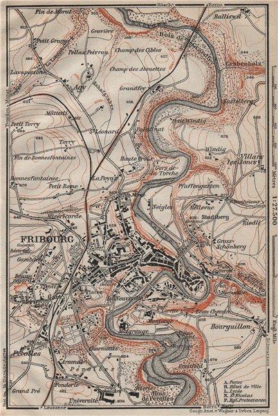 Associate Product FRIBOURG / FREIBURG ENVIRONS. Switzerland Suisse Schweiz carte karte 1922 map