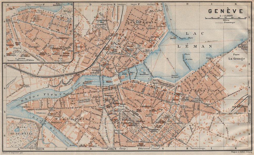 Associate Product GENEVA GENÈVE GENF. town city stadtplan. Switzerland Suisse Schweiz 1922 map