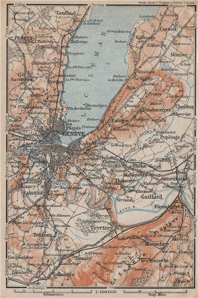 Associate Product GENEVA GENÈVE GENF ENVIRONS. Switzerland Suisse Schweiz carte karte 1922 map