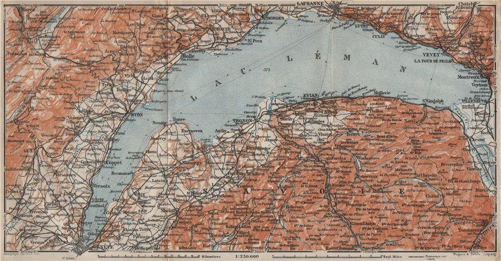 Associate Product LAKE GENEVA/LAC LÉMAN. St Cergue Chatel St Jean d'Aulph Lausanne Evian 1922 map