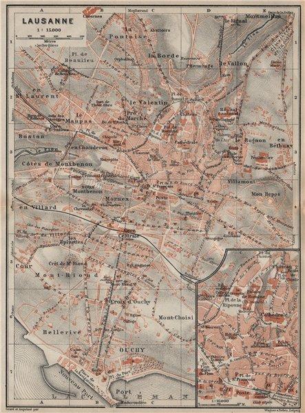 Associate Product LAUSANNE. town city stadtplan. Switzerland Suisse Schweiz carte karte 1922 map