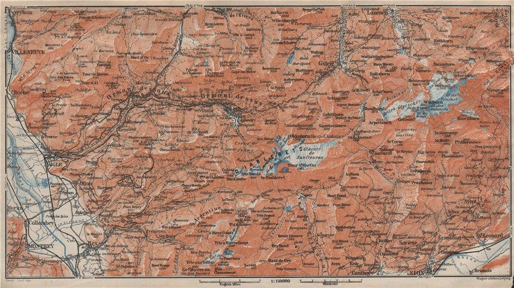 Associate Product AIGLE DISTRICT.Les Diablerets Villars Gryon Leysin Les Mosses Ormont 1922 map