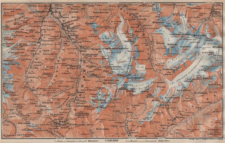 Associate Product GRAND ST BERNARD ENVIRONS Arolla Grand Combin Massif Orsières Mt Velan 1922 map