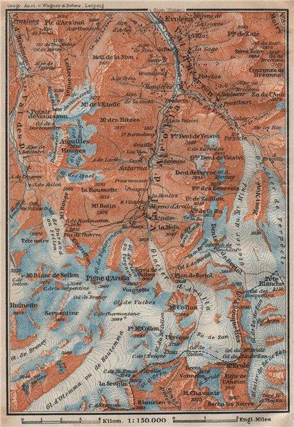 Associate Product VAL D'AROLLA. Evolène Hérens Mont Collon Tête Blanche Aiguilles Rouges 1922 map