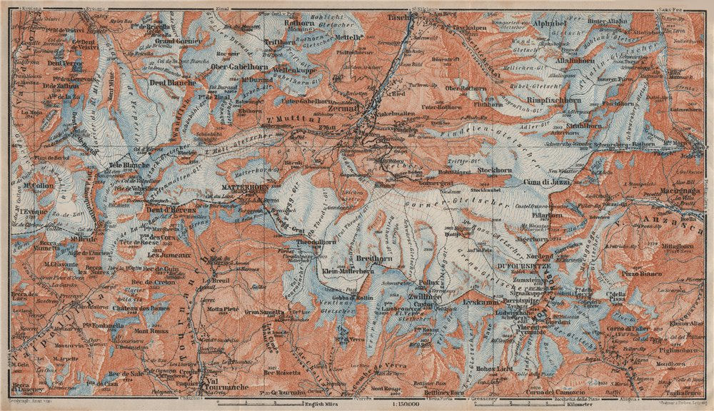 Associate Product ZERMATT ENVIRONS. Breuil-Cervinia Matterhorn Tournanche Monte Rosa 1922 map