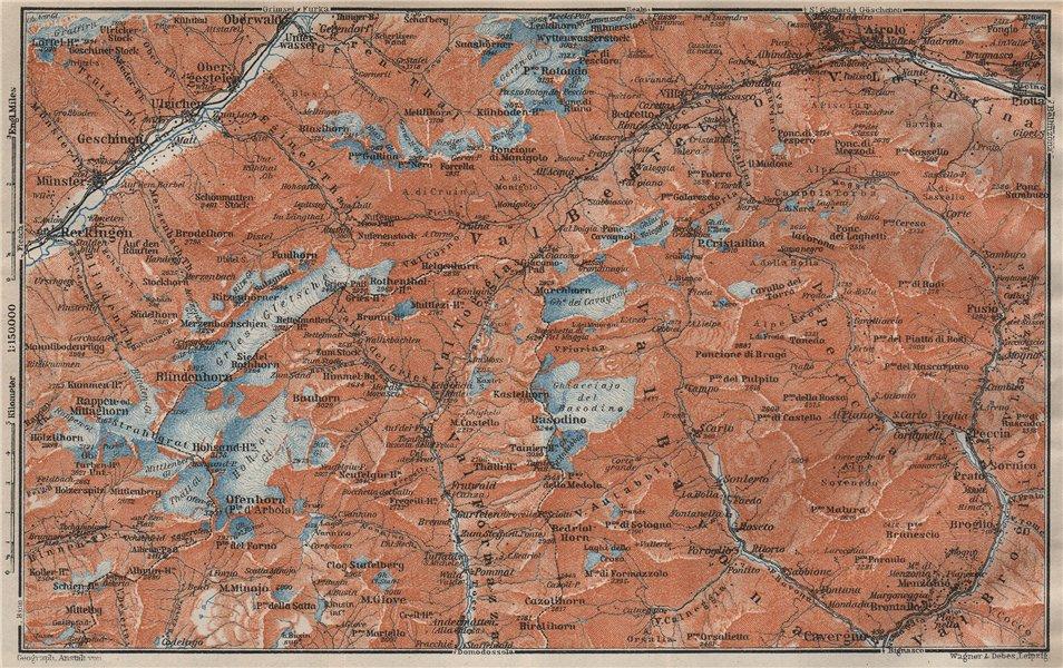 Associate Product GRIES PASS & NW TICINO ALPS. Val Bedretto Airolo Basodino Ofenhorn 1922 map