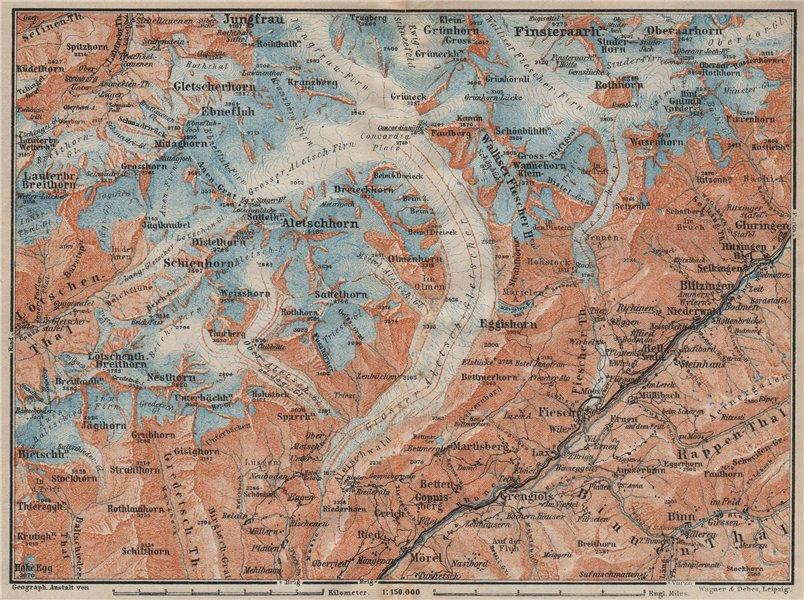 Associate Product ALETSCHHORN DISTRICT. Fiesch Mörel Jungfrau Nesthorn Grengiols 1922 old map