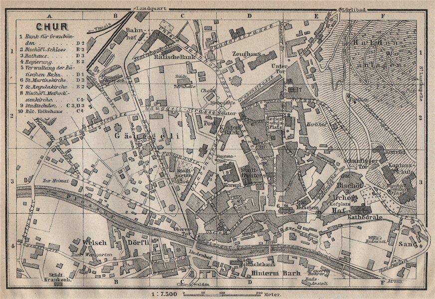 Associate Product COIRE / CHUR. Chur. town city stadtplan. Switzerland Suisse Schweiz 1922 map