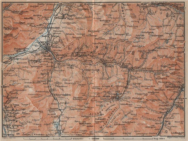 Associate Product COIRE/CHUR SCHANFIGG AROSA ENVIRONS. Davos Klosters Lenzheide Trimnns 1922 map