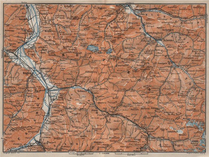 BAD RAGAZ PRÄTIGAU MONTAFON ENVIRONS. Wangs Rätikon Bludenz Maienfeld 1922 map