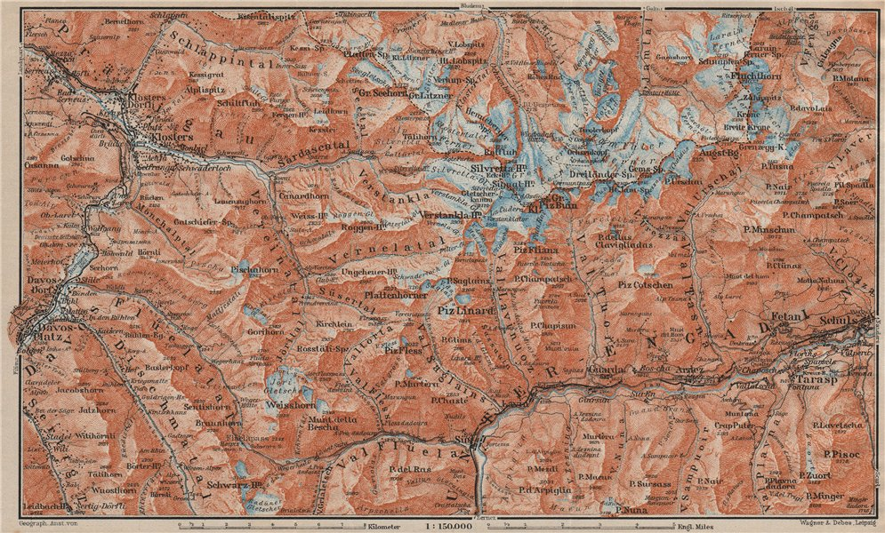 Associate Product SILVRETTA GROUP. Klosters Davos Ftan Scuol Fluchthorn Lower Engadin 1922 map