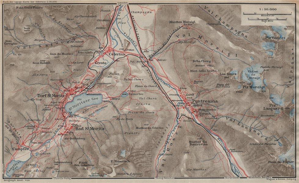 Associate Product ST MORITZ & PONTRESINA. Celerina Cresta Piz Vadret/Muraigl/Languard 1922 map
