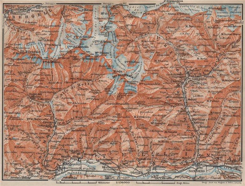Associate Product VAL MASINO/BREGAGLIA ALPS. Disgrazia Caspoggio Tellina Malenco Sondrio 1922 map