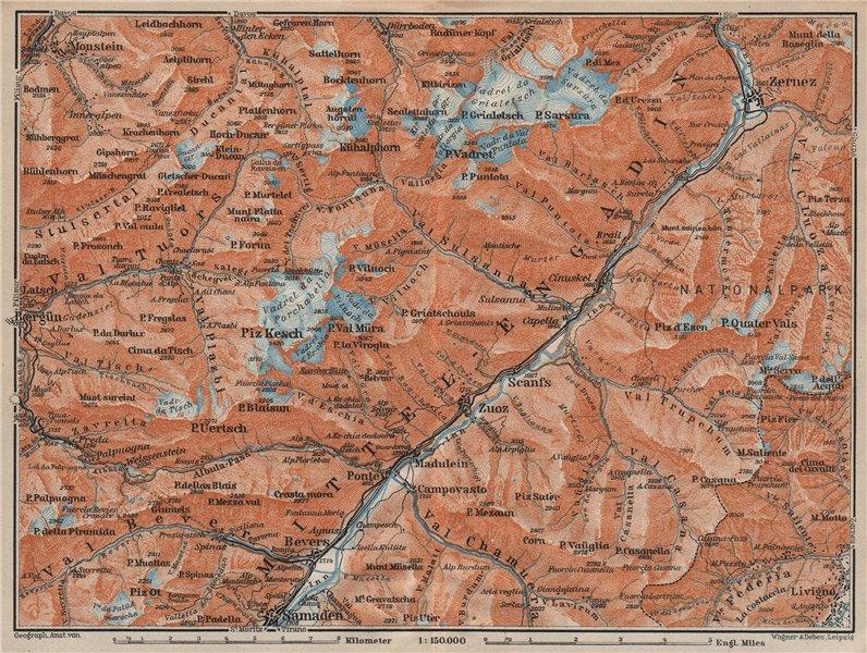 Associate Product MIDDLE ENGADINE VALLEY. Samedan-Zernez. Zuoz Livigno Albula Alps 1922 old map