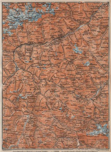 LOWER ENGADINE. Livigno Bormio Ftan Scuol Silvretta Range Piz Buin 1922 map