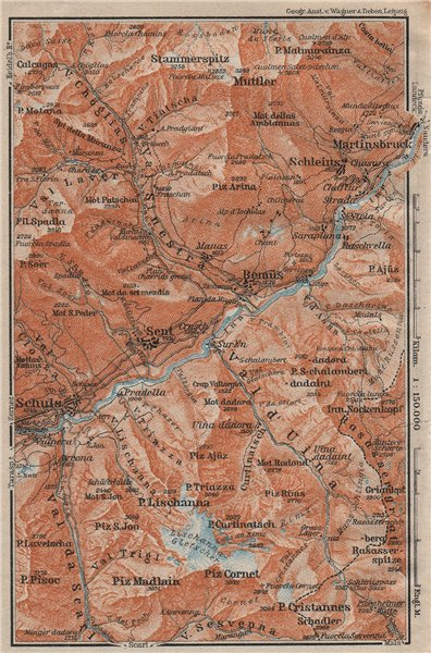 Associate Product LOWER ENGADINE VALLEY. Scuol-Martinsbruck/Martina Schleins Remiis 1922 old map