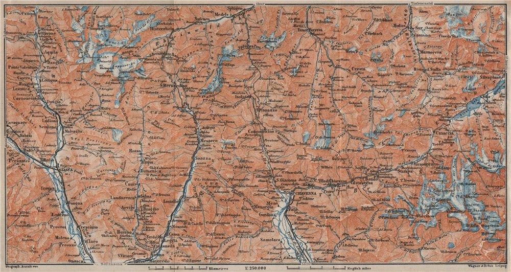 Associate Product LUKMANIER to MALOJA.Sils Maria Bivio Madesimo Chiavenna San Bernardino 1922 map