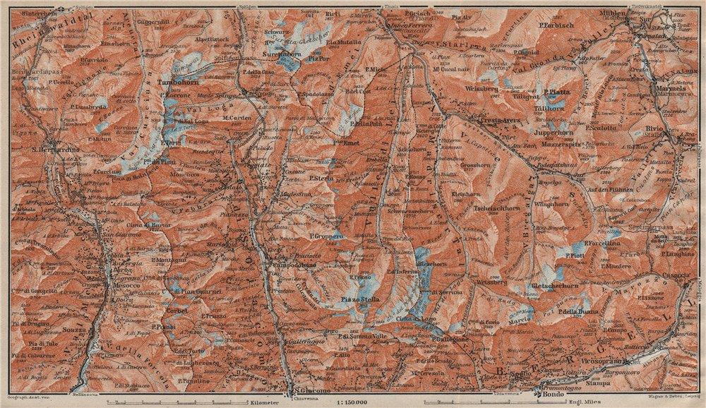 Associate Product SPLÜGEN-BONDO. Madesimo San Bernardino Mesocco Tambohorn Surettahorn 1922 map