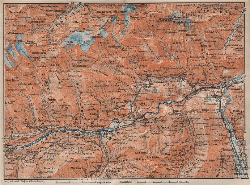 Associate Product ILANZ & FLIMS AREA. Laax Obersaxen Mundaun Brigels Waltensburg Tamins 1922 map