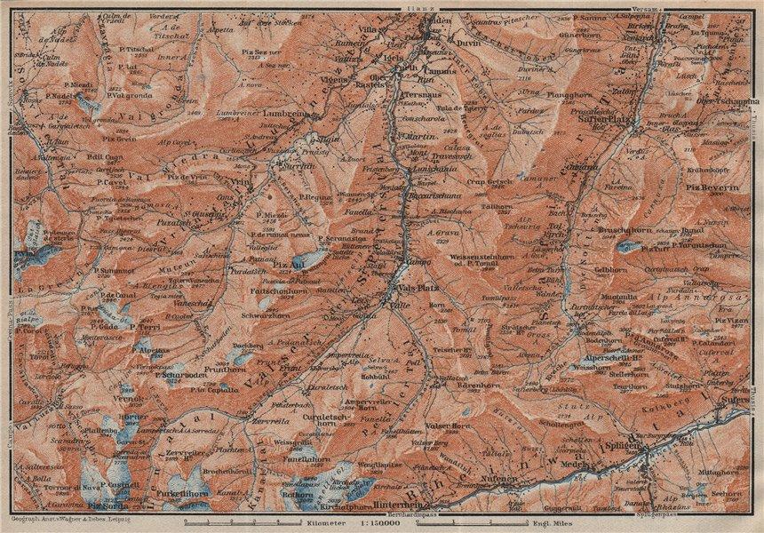 Associate Product LUGNETZTAL SURSELVA. Valserrhein Furketlihorn Hinterrhein Splügen 1922 old map