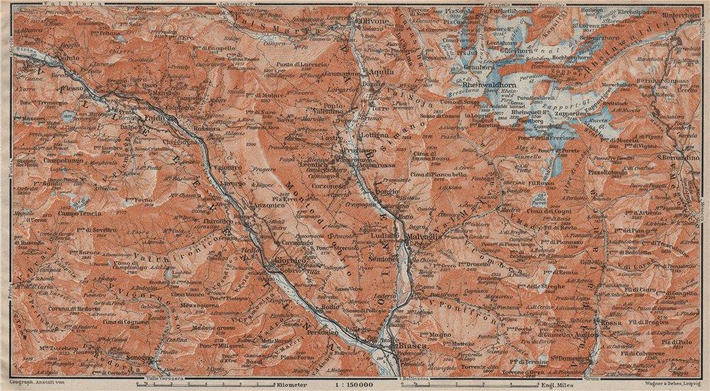 Associate Product MONTE DI SOBRIO LEVENTINA BLENIO TICINO. San Bernardino Olivone Faido 1922 map