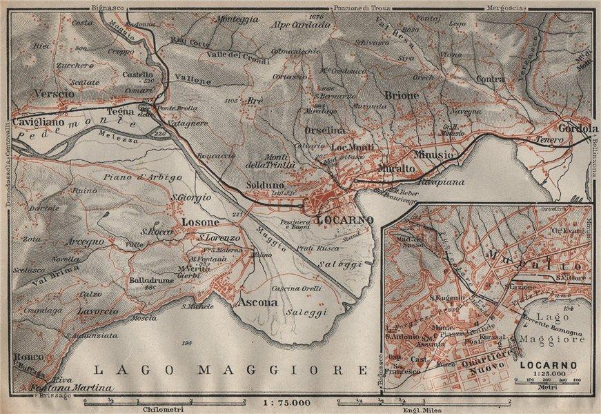 Associate Product LOCARNO area. Losone Gordola Muralto Brione. Switzerland Suisse Schweiz 1922 map