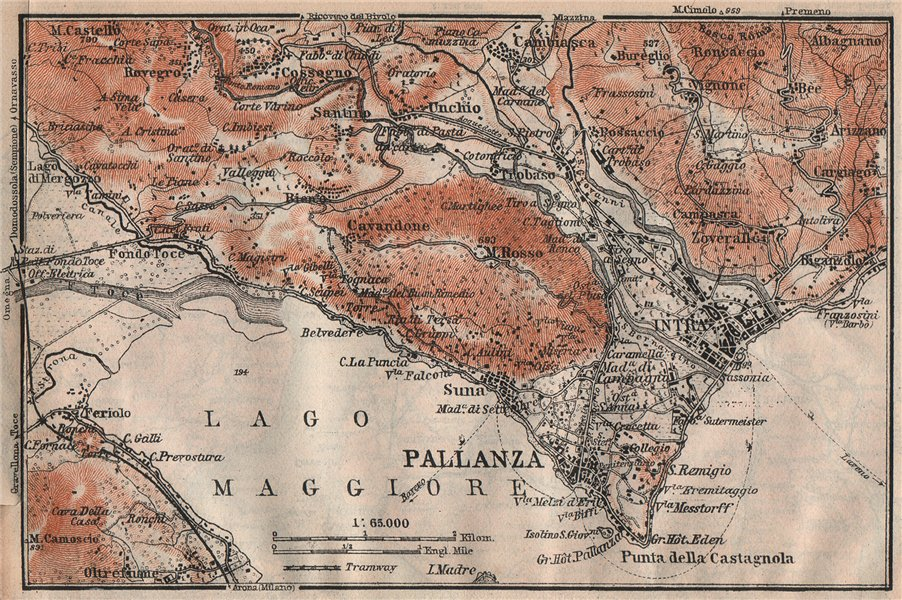 Associate Product PALLANZA ENVIRONS. Verbania. Intra Unchio. Italy mappa. BAEDEKER 1922 old