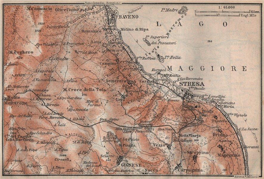 Associate Product STRESA ENVIRONS. Baveno Gignese. Italy mappa. BAEDEKER 1922 old vintage