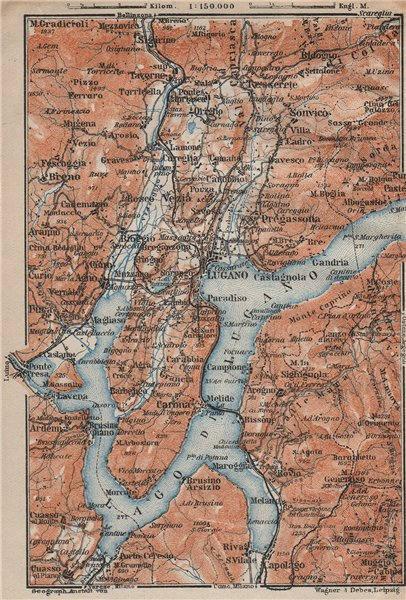 Associate Product LUGANO ENVIRONS. Lake Lago di. Topo-map. Switzerland Suisse Schweiz 1922