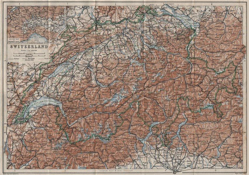Associate Product Map of Switzerland Suisse Schweiz. Northern Italy railways carte karte 1928