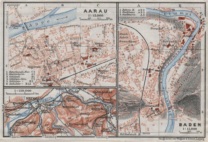 Associate Product BADEN. AARAU. Brugg. town city stadtplan. Switzerland Suisse Schweiz 1928 map