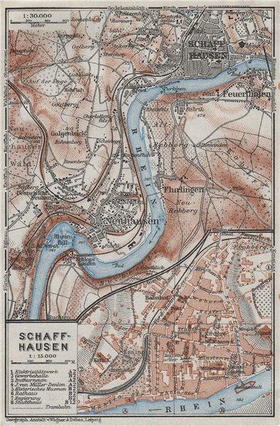 Associate Product SCHAFFHAUSEN environs. Flurlingen Feuerthalen Neuhausen. Schweiz 1928 old map