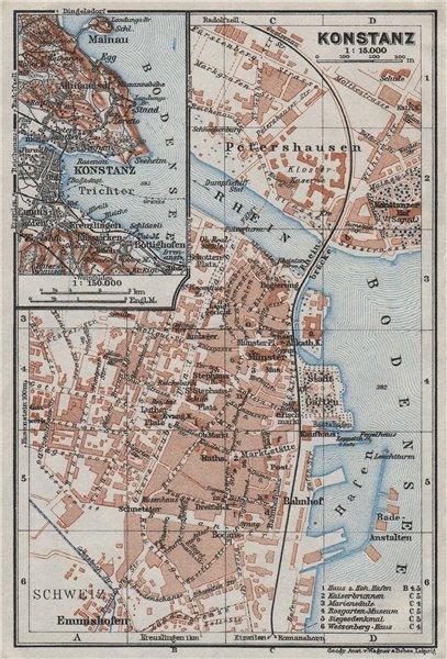 Associate Product CONSTANCE. KONSTANZ. town city stadtplan. Germany karte. BAEDEKER 1928 old map
