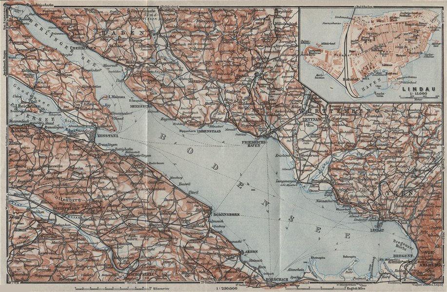 Associate Product LAKE CONSTANCE inset LINDAU. Konstanz St Gallen Bregenz. Topo-map 1928 old