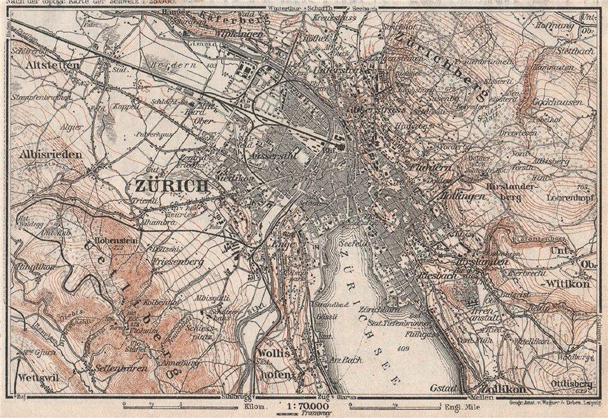 Associate Product ZÜRICH ENVIRONS. Zurich. Switzerland Suisse Schweiz carte karte 1928 old map