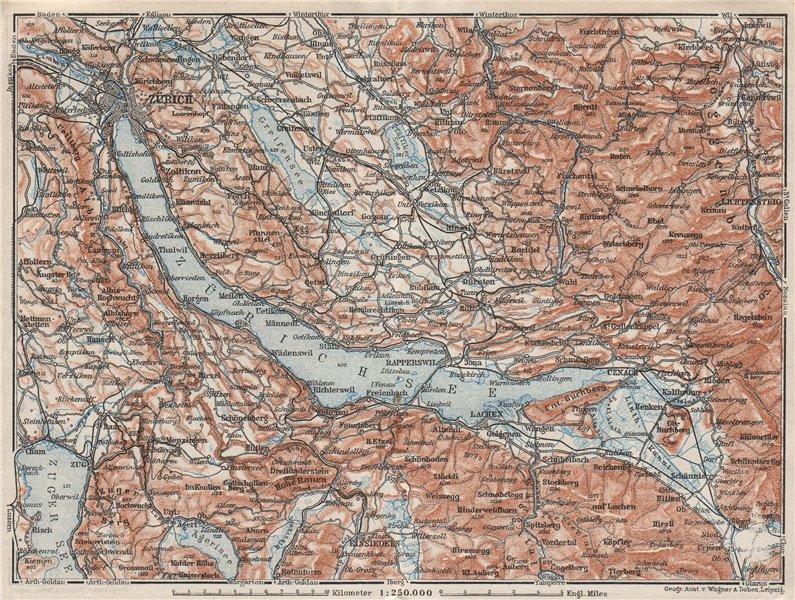 Associate Product LAKE ZÜRICH. Zuricher See Lachen Utznach.Topo-map. Switzerland Schweiz 1928