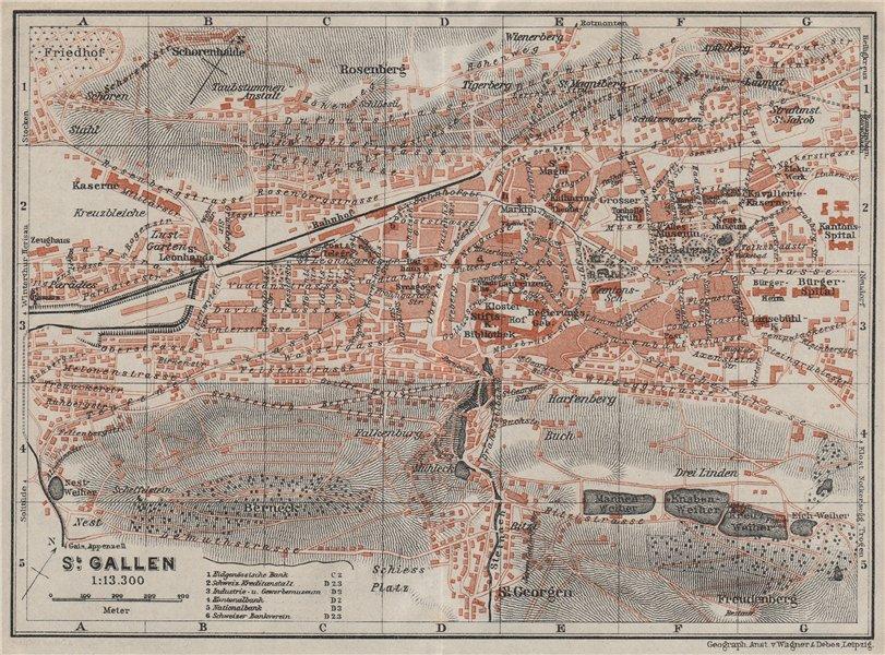 Associate Product ST. GALLEN. town city stadtplan. Switzerland Suisse Schweiz. BAEDEKER 1928 map