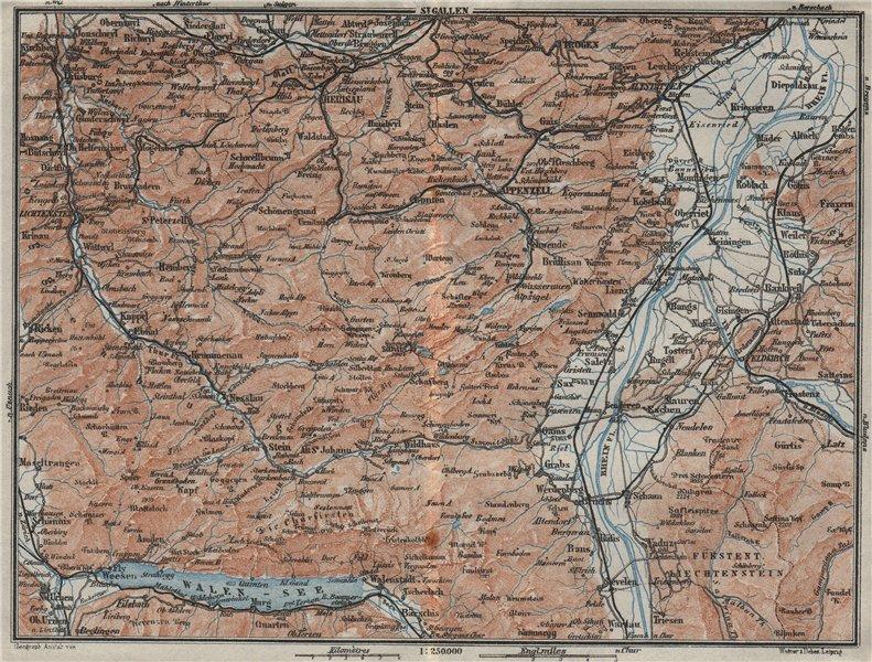 Associate Product APPENZELL CANTON. Wildhaus Unterwasser St. Gallen Trogen Walensee 1928 old map