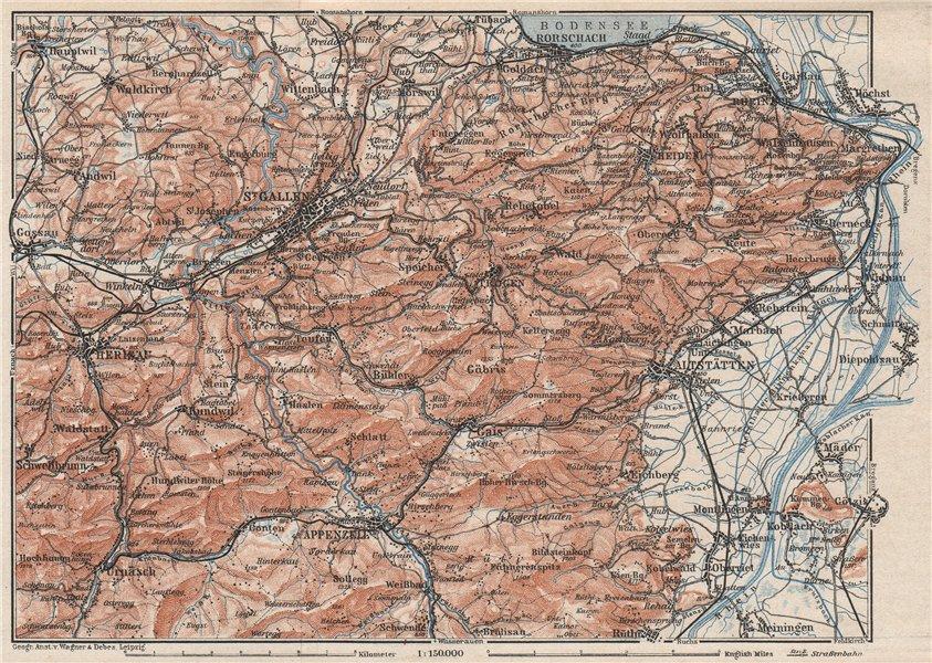 Associate Product ST GALLEN/APPENZELL area. Herigau Altstätten Heiden Rheineck Rorschach 1928 map