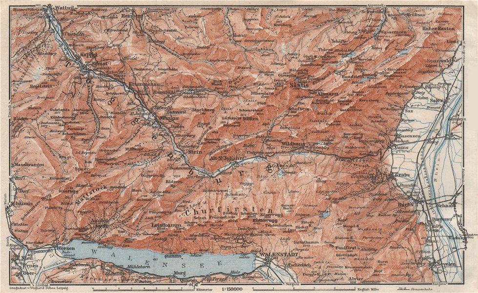 Associate Product THUR VALLEY.Säntis Toggenburg Wildhaus Alt St Johann Unterwasser Grabs 1928 map