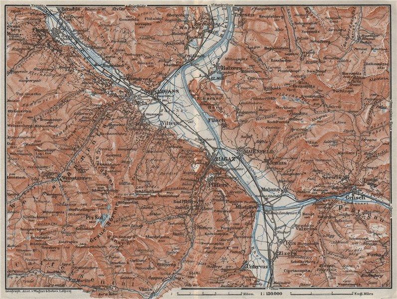 Associate Product BAD RAGAZ. Malbun Flums Wangs Pizol Sargans Grusch Malans Maienfeld 1928 map