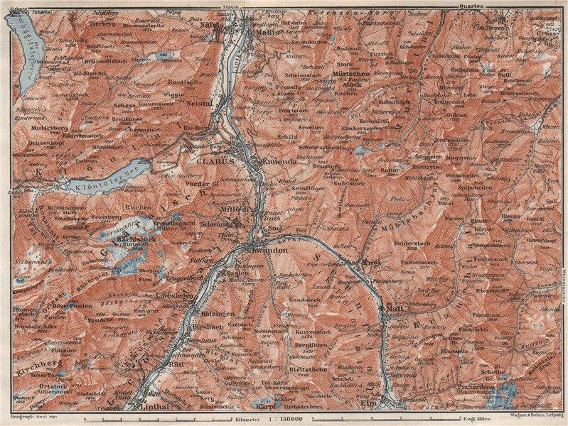 Associate Product GLARUS area. Braunwald Bächistock Netstall Mollis Näfels Elm. Topo-map 1928