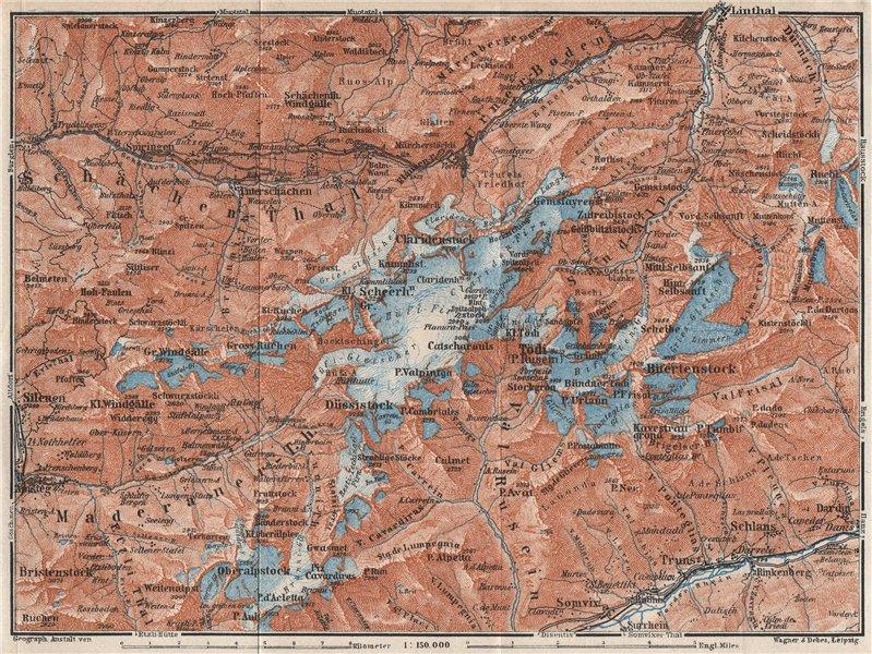 Associate Product TÖDI DISTRICT. Glarus Alps Linththal Bifertenstock Claridenstock 1928 old map
