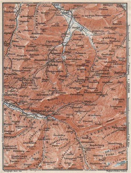 Associate Product MUOTATHAL PRAGEL & SIHLTAL. Silbern Liedernen (Kaiserstock) Iberg 1928 old map