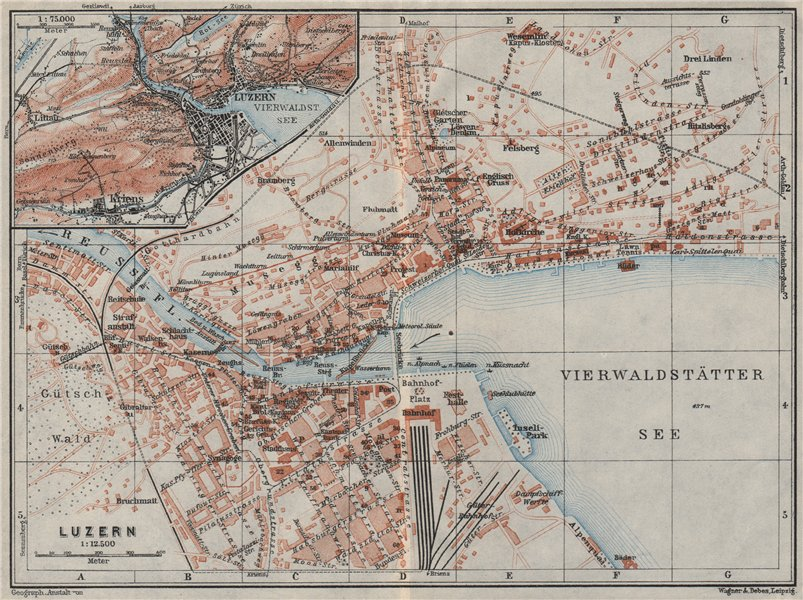 Associate Product LUCERNE LUZERN. town city stadtplan. Switzerland Suisse Schweiz 1928 old map