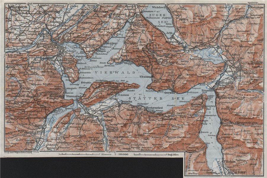 Associate Product LAKE LUCERNE Vierwaldstättersee. Luzern Stans Weggis Brunnen Schwyz 1928 map
