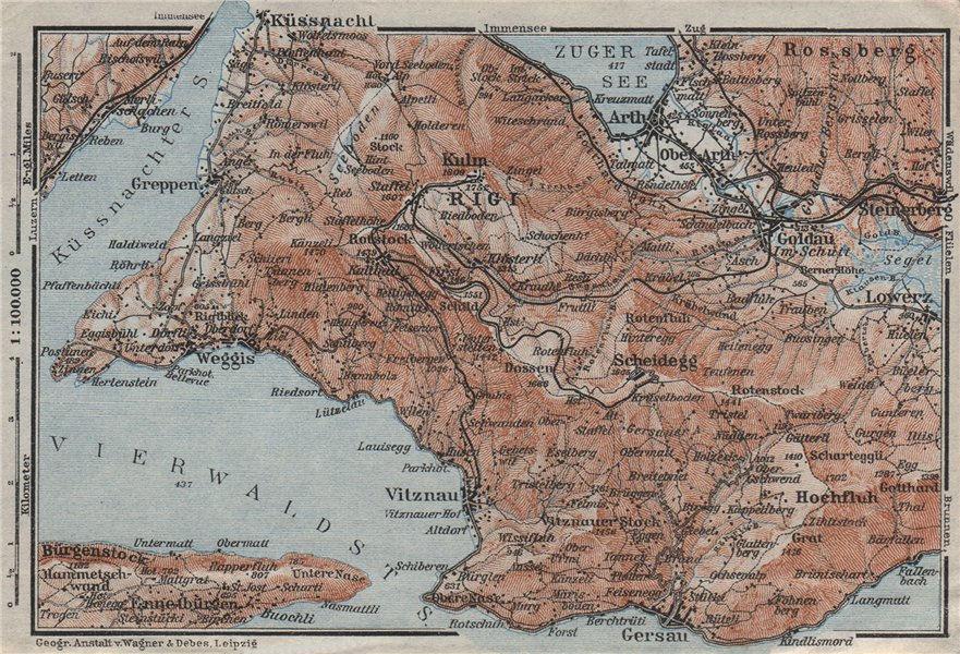 Associate Product THE RIGI. Lowerz Arth Gersau Küssnacht. Topo-map. Switzerland Schweiz 1928
