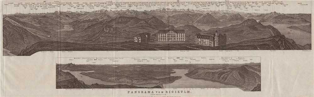 Associate Product PANORAMA from/von RIGIKULM 1800m. Küssnacht. Switzerland Schweiz 1928 old map