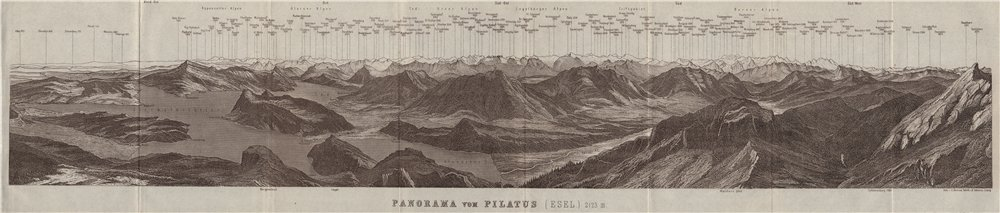 Associate Product PANORAMA from/von PILATUS. Vierwaldstättersee. Lake Lucerne. Schweiz 1928 map