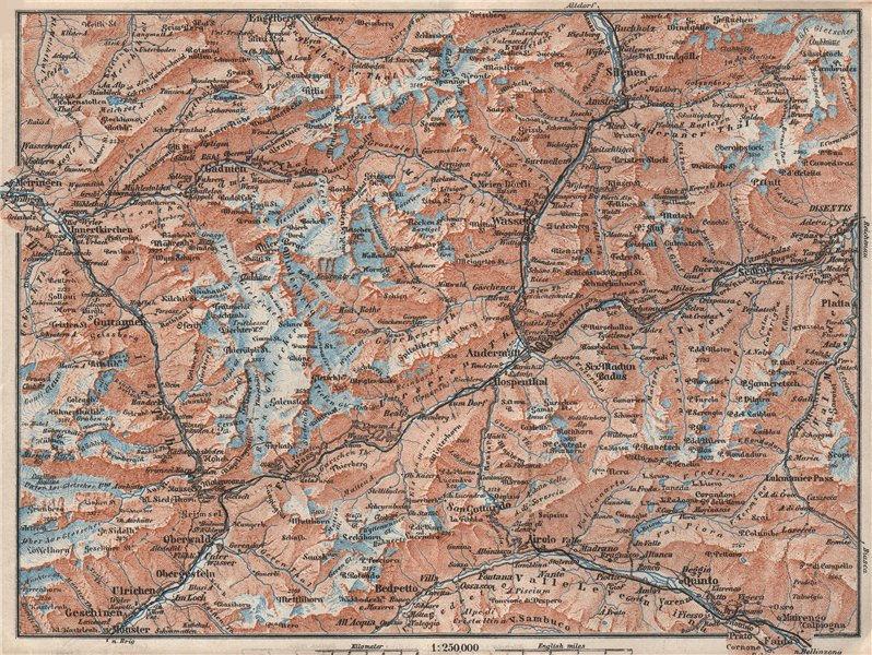Associate Product ST GOTTHARD area. Andermatt Engelberg Silenen Gadmen Ulrichen Disentis 1928 map